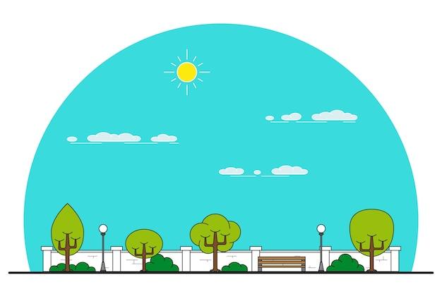 Imagen de un banco en el parque, árboles y farola, callejón del parque, lugar para descansar, línea delgada