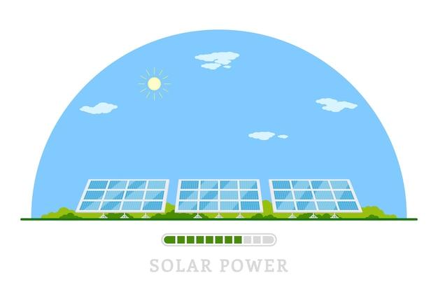 Imagen de baterías solares, banner de concepto de energía solar renovable