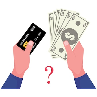 Una imagen de un billete de banco y una tarjeta de crédito presenta una tarjeta de retención de mano mientras que la otra sostiene efectivo en dólares