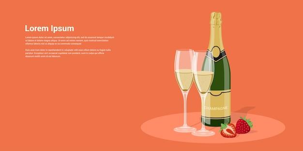 Imagen de botella de champán, vasos y fresa, ilustración de estilo