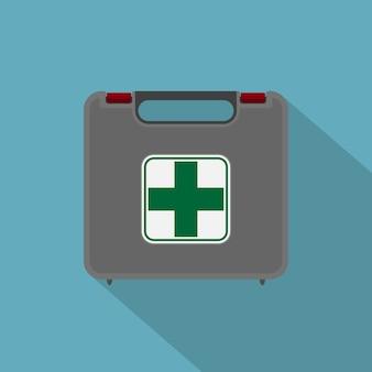 Imagen del botiquín de primeros auxilios del coche, icono de estilo