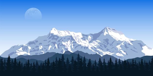 Imagen de una cadena montañosa con silueta de bosque y luna en el concepto de fondo, viajes, turismo, senderismo y trekking