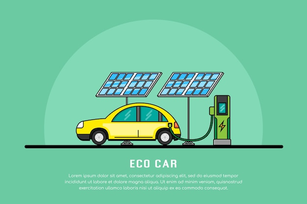 Imagen de carga de coche eléctrico en la estación de carga, concepto de electromovilidad, banner de línea de coches ecológicos