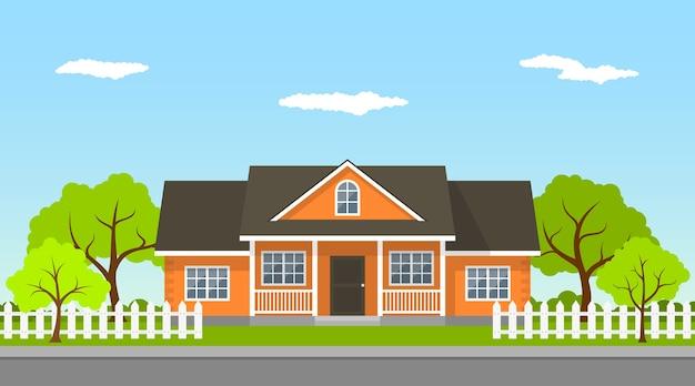 Imagen de una casa de campo clásica con árboles y camino, ilustración de estilo