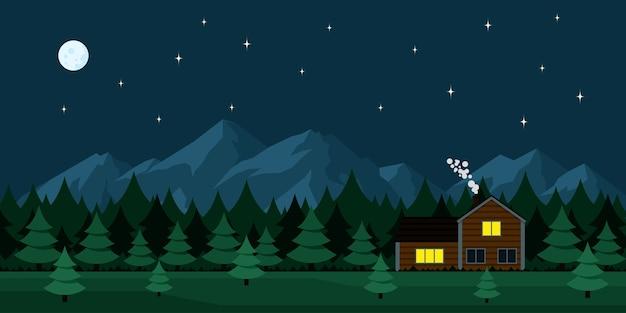 Imagen de casa de madera en el bosque, con montañas de fondo, estilo de ilustración