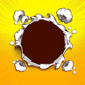 Imagen el círculo de papel se rasga en el medio sobre fondo amarillo.