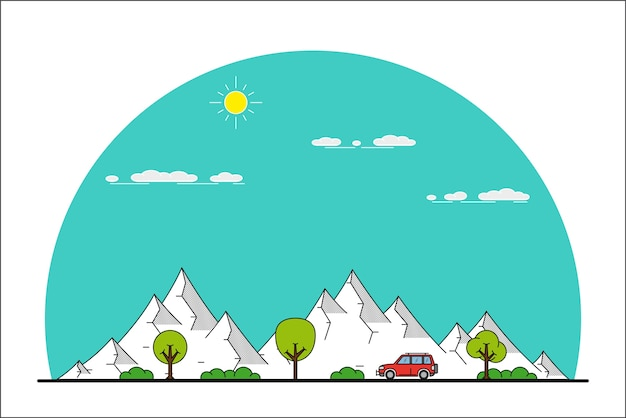 Imagen de un coche que se mueve delante de un paisaje de montaña,
