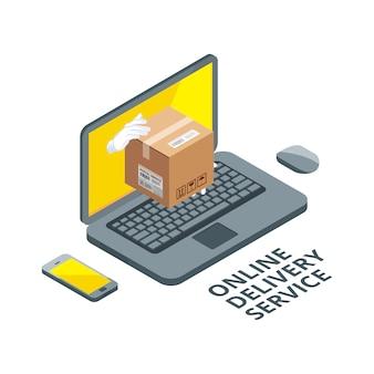 Imagen del concepto isométrico de entrega en línea. paquete real de la pantalla del portátil