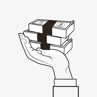 Imagen de diseño de línea de iconos relacionados con economía