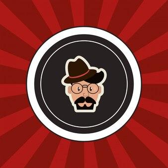 Imagen de emblema de hombre hipster