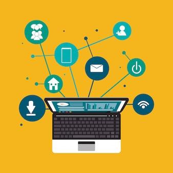 Imagen de los iconos relacionados con la comunicación de la red social digital