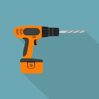 Imagen de destornillador inalámbrico con barrena, icono de estilo