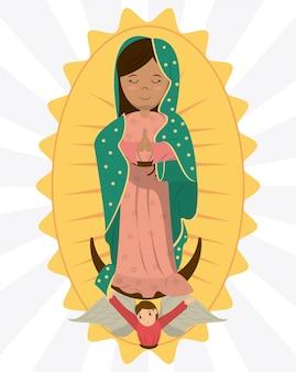 Imagen de la devoción del ángel de la virgen de guadalupe