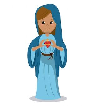 Imagen devocional del corazón sagrado de la virgen maría