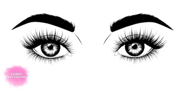 Imagen dibujada a mano de hermosos ojos