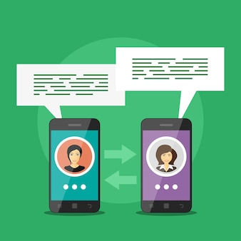 Imagen de dos teléfonos inteligentes con avatares de personas y bocadillos, concepto de comunicación móvil, videollamada