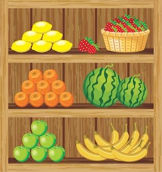 Imagen de un estante de madera con los productos en la tienda.