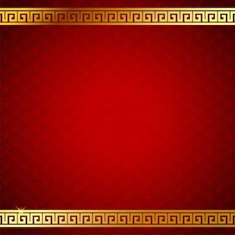 Imagen de fondo del patrón chino. color dorado y rojo