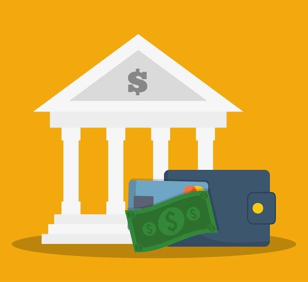 Imagen de iconos relacionados con la banca