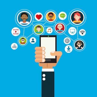 Imagen de iconos relacionados con los medios sociales.