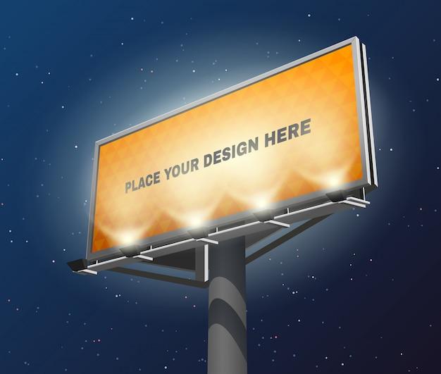 Imagen iluminada de la noche de billboard
