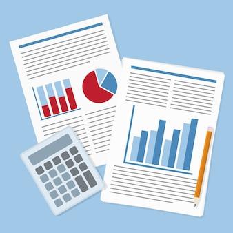 Imagen de informe financiero con gráficos, calculadora y lápiz