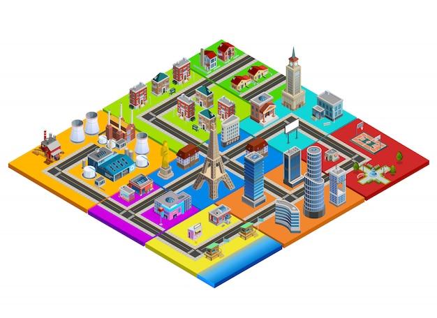 Imagen isométrica colorida del constructor del mapa de la ciudad