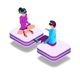 Imagen isométrica de juegos en realidad virtual en 3d.