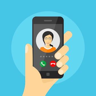 Imagen de la mano humana sosteniendo el teléfono móvil con avatar de mujer en su pantalla, llamada telefónica entrante, comunicación por teléfono móvil, concepto de videollamada, ilustración de estilo