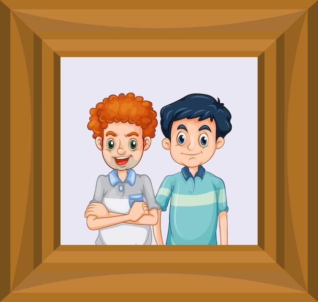 Imagen de mejores amigos en marco de madera