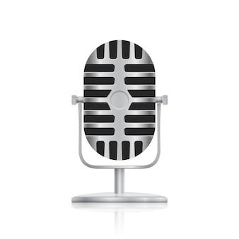 Imagen de micrófono de estudio sobre fondo blanco.