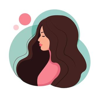 La imagen de una niña de perfil. ilustración vectorial en estilo de dibujos animados