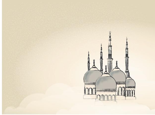 Imagen del paisaje de la ciudad mezquita en ramadán.