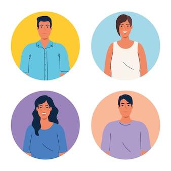 Imagen de personas multiétnicas en marcos circulares, concepto de diversidad y multiculturalismo