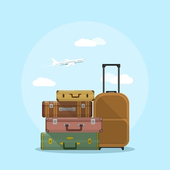 Imagen de la pila de maletas con nubes y avión en el fondo, ilustración de estilo, concepto de vacaciones y viajes