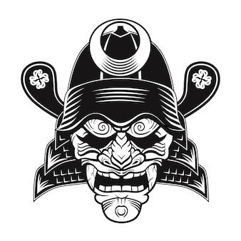 Imagen plana de máscara negra de samurai japonés. japón tradicional guerrero vintage o clipart de combate aislado ilustración vectorial