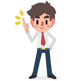 Imagen plana de vector de ilustración apuesto empresario o gerente que describe todos los puntos principales de fondo aislado
