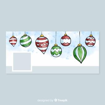 Imagen de portada de acuarela de facebook con diseño de navidad