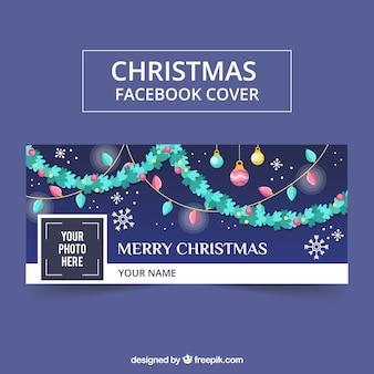 Imagen de portada de facebook con diseño de guirnaldas de navidad