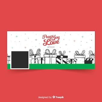 Imagen de portada de facebook con diseño de navidad con regalos