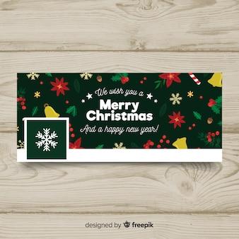 Imagen de portada realista de facebook con diseño de navidad