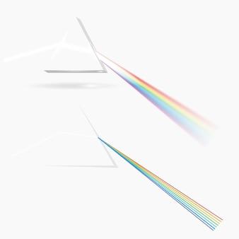 Imagen del prisma del espectro. elemento óptico transparente, triangular