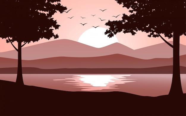 Imagen puesta de sol plana con silueta de árbol