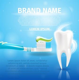 Imagen realista diente sano y pasta de dientes en 3d