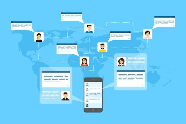 Imagen de teléfono móvil, avatares de personas y bocadillos, ilustración de estilo, conexión a internet, concepto de red social