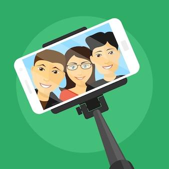 Imagen de teléfono móvil con tres amigos en la pantalla y selfie stick, ilustración de estilo