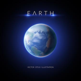 Imagen de la tierra con descripción en la ilustración plana oscura
