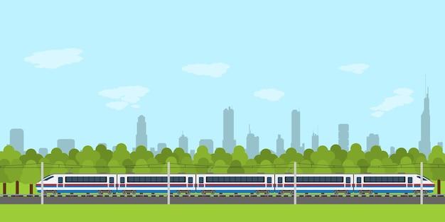 Imagen de tren en ferrocarril con silueta de bosque y ciudad en el fondo, estilo infográfico