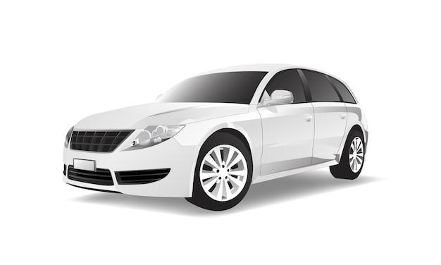 Imagen tridimensional del coche aislado en el fondo blanco