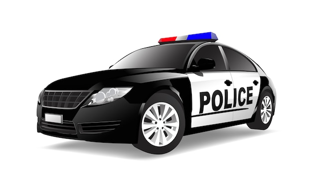 Imagen tridimensional del coche de policía aislado en el fondo blanco